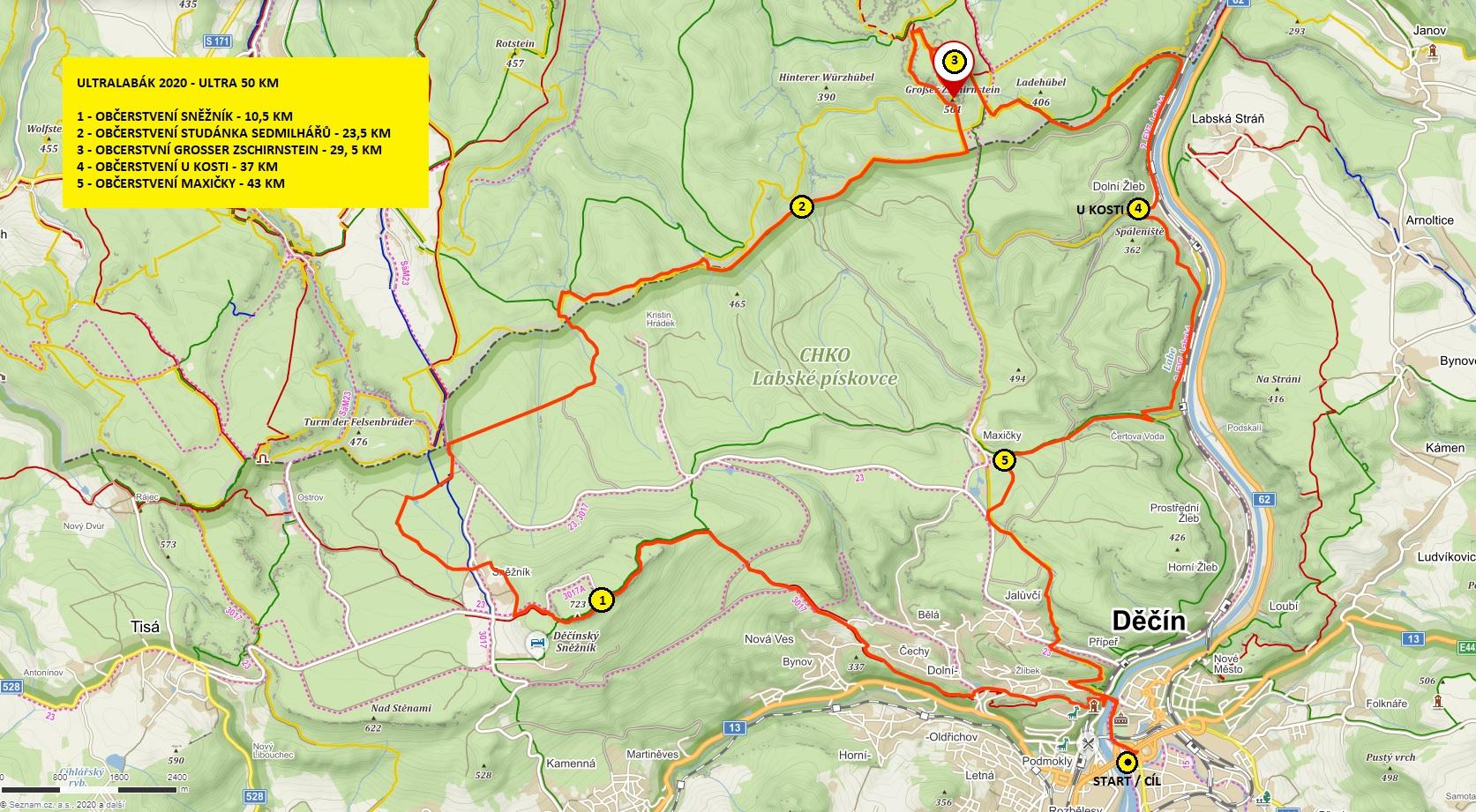 Průběh trasy Ultra 50 Km